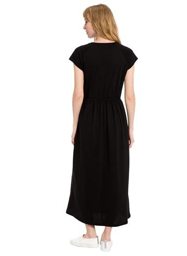 LC Waikiki Yazı Baskılı Pamuklu Uzun Elbise Siyah